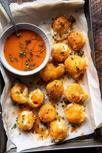 Fried Buffalo Goat Cheese Balls | halfbakedharvest.com #goatcheese #appetizers #superbowl #snacks