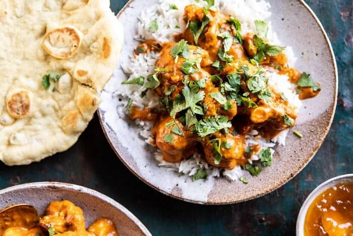 horizontal photo of Indian Coconut Butter Cauliflower