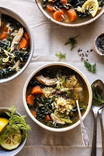 Lemony Garlic Chicken and Orzo Soup | halfbakedharvest.com #chickensoup #kale #healthyrecipes #winter