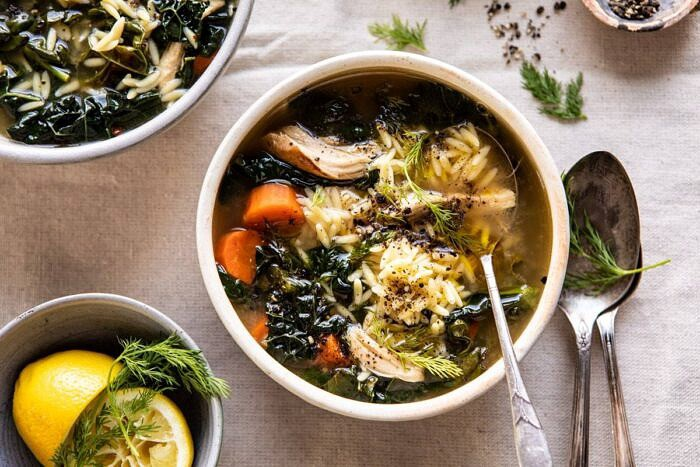 horizontal photo of Lemony Garlic Chicken and Orzo Soup
