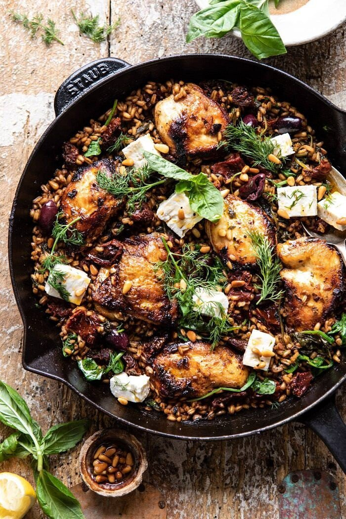 One Skillet Greek Sun-Dried Tomato Chicken and Farro | halfbakedharvest.com #skilletrecipes #chicken #healthyrecipes #onepan #easyrecipes