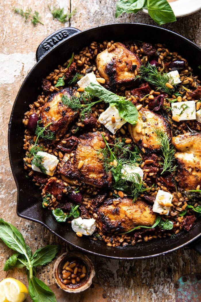 overhead close up photo of One Skillet Greek Sun-Dried Tomato Chicken and Farro
