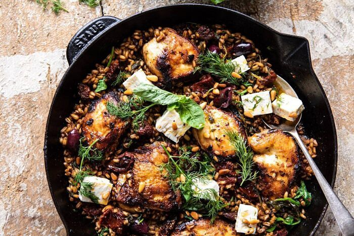 horizontal photo of One Skillet Greek Sun-Dried Tomato Chicken and Farro