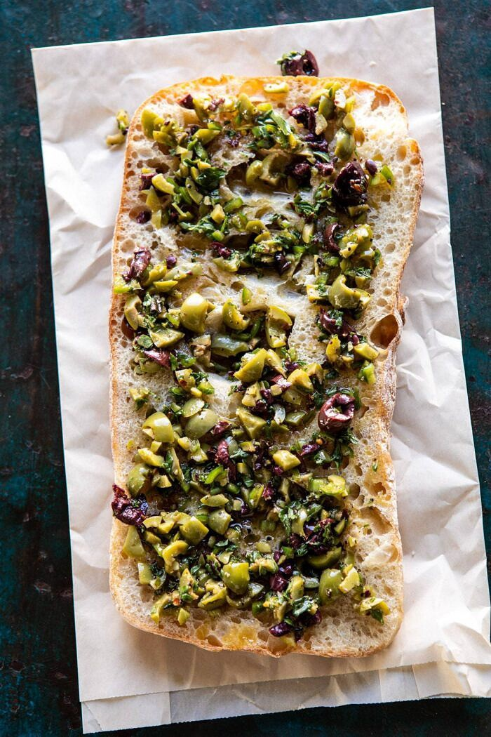olives on ciabatta bread