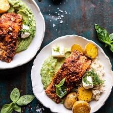 Sheet Pan Blackened Salmon Bowl with Potatoes and Avocado Goddess Sauce.
