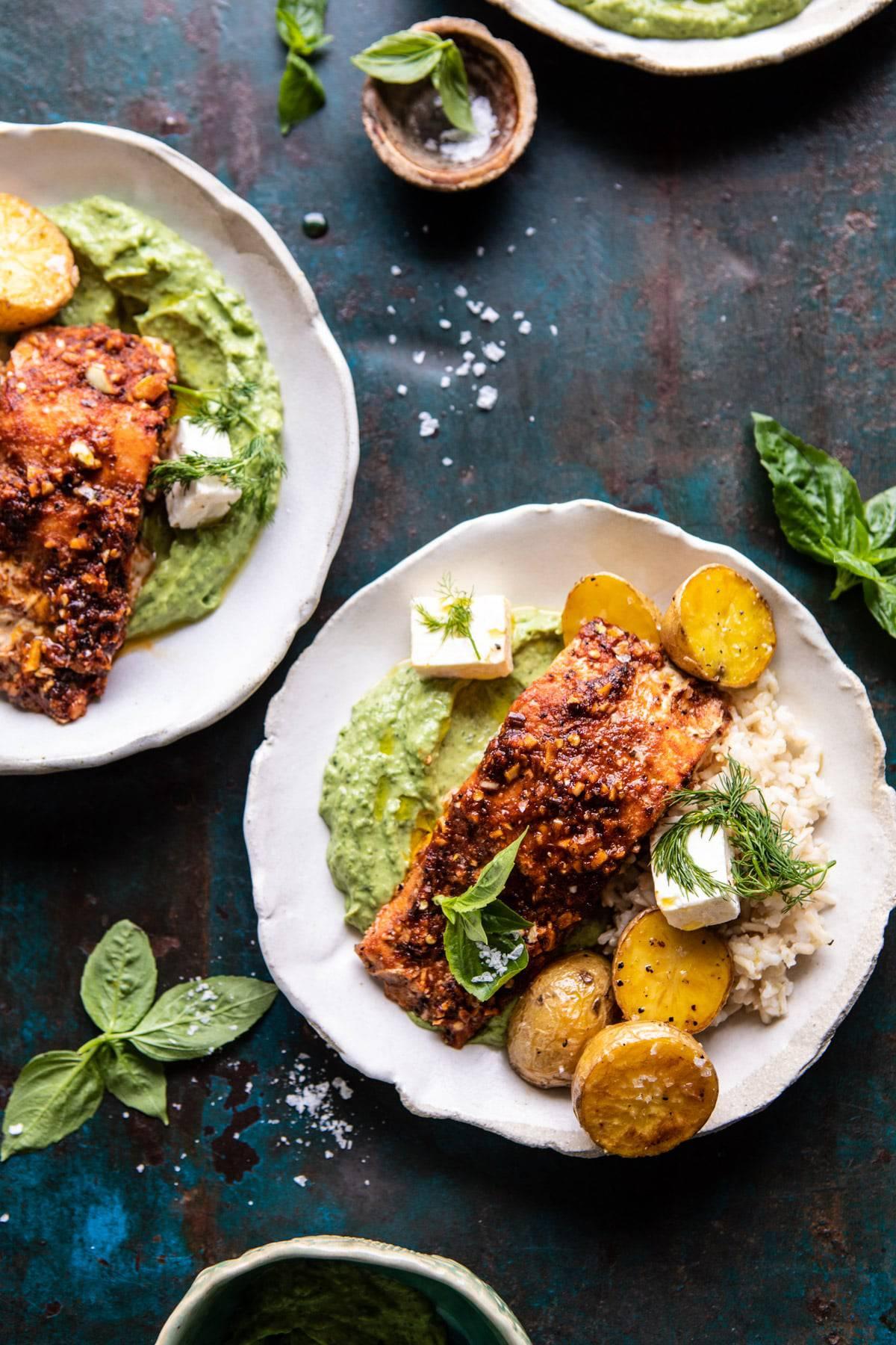 Sheet Pan Blackened Salmon Bowl with Potatoes and Avocado Goddess Sauce | halfbakedharvest.com #shetpan #healthyrecipes #easyrecipes #bowlfood #salmon