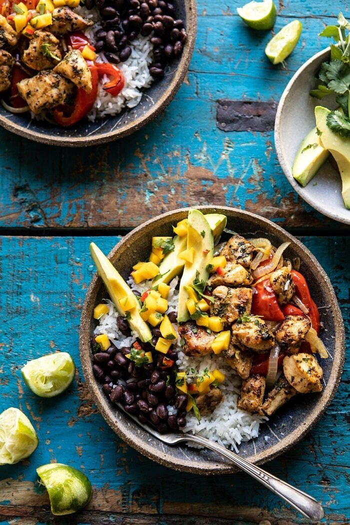 Sheet Pan Cuban Chicken and Black Bean Rice Bowl | halfbakedharvest.com #sheetpan #healthy #chicken #bowlrecipes #quick #easy