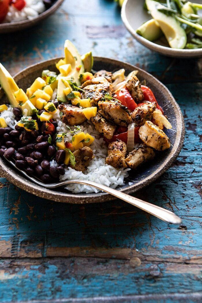 side angled photo of Sheet Pan Cuban Chicken and Black Bean Rice Bowl