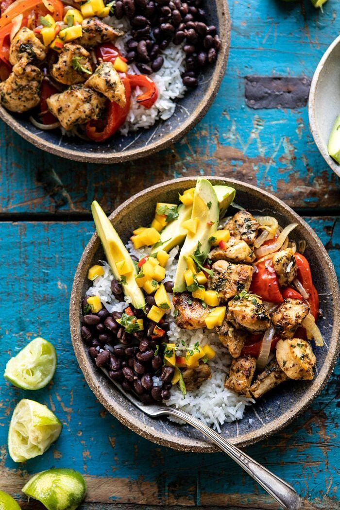 overhead photo of Sheet Pan Cuban Chicken and Black Bean Rice Bowl