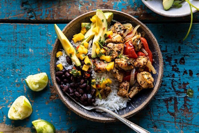 horizontal photo of Sheet Pan Cuban Chicken and Black Bean Rice Bowl