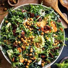 Super Green Sun-Dried Tomato Herb Salad with Crispy Chickpeas | halfbakedharvest.com #healthyrecipes #salad #easyrecipes #chickpeas #feta