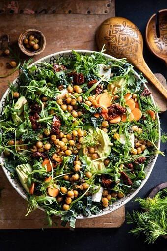 Super Green Sun-Dried Tomato Herb Salad with Crispy Chickpeas | halfbakedharvest.com #healthyrecipes #salad #easyrecipes #chickpeas #feta