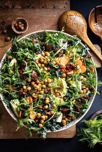 Super Green Sun-Dried Tomato Herb Salad with Crispy Chickpeas.