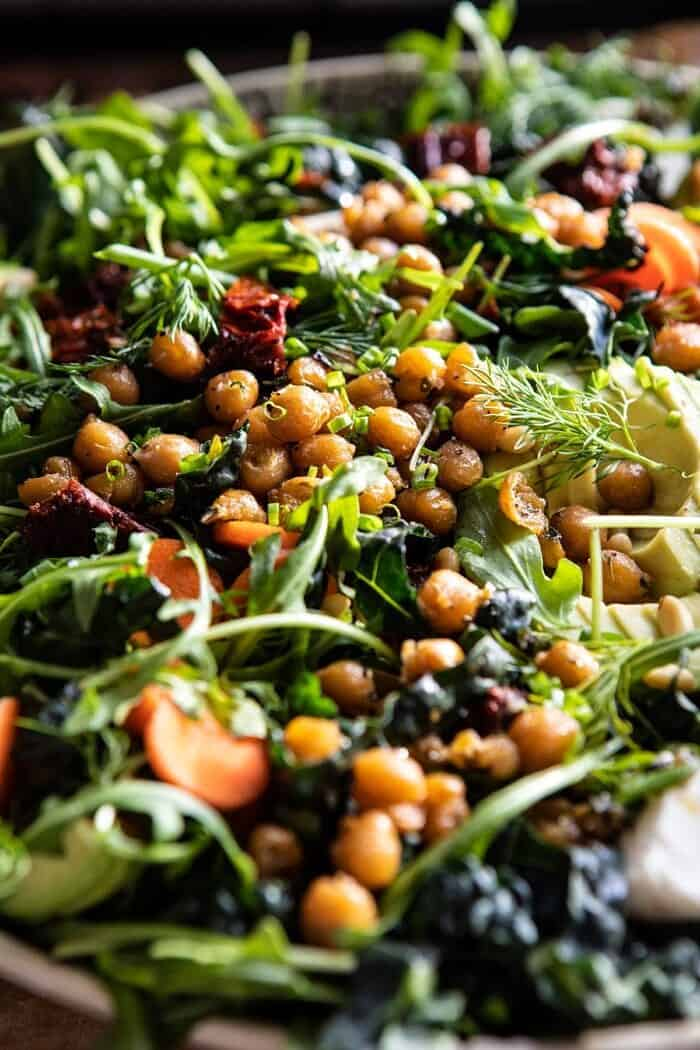 side angle close up photo of Super Green Sun-Dried Tomato Herb Salad with Crispy Chickpeas