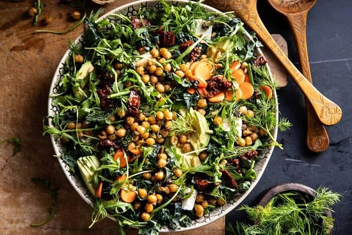 horizontal photo of Super Green Sun-Dried Tomato Herb Salad with Crispy Chickpeas