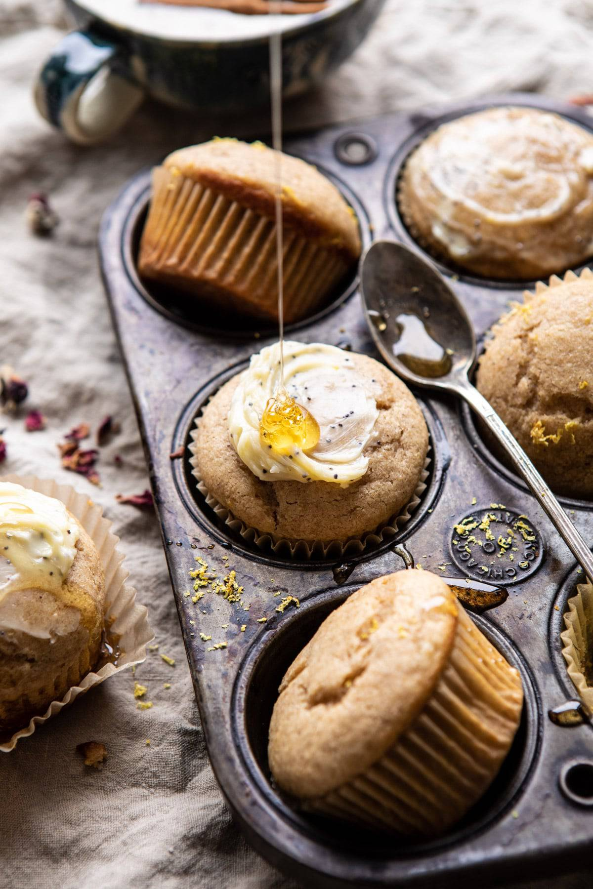 Vanilla Chai Lemon Ricotta Muffins | halfbakedharvest.com  #breakfast #brunch #healthyrecipes #lemon #winter #chai