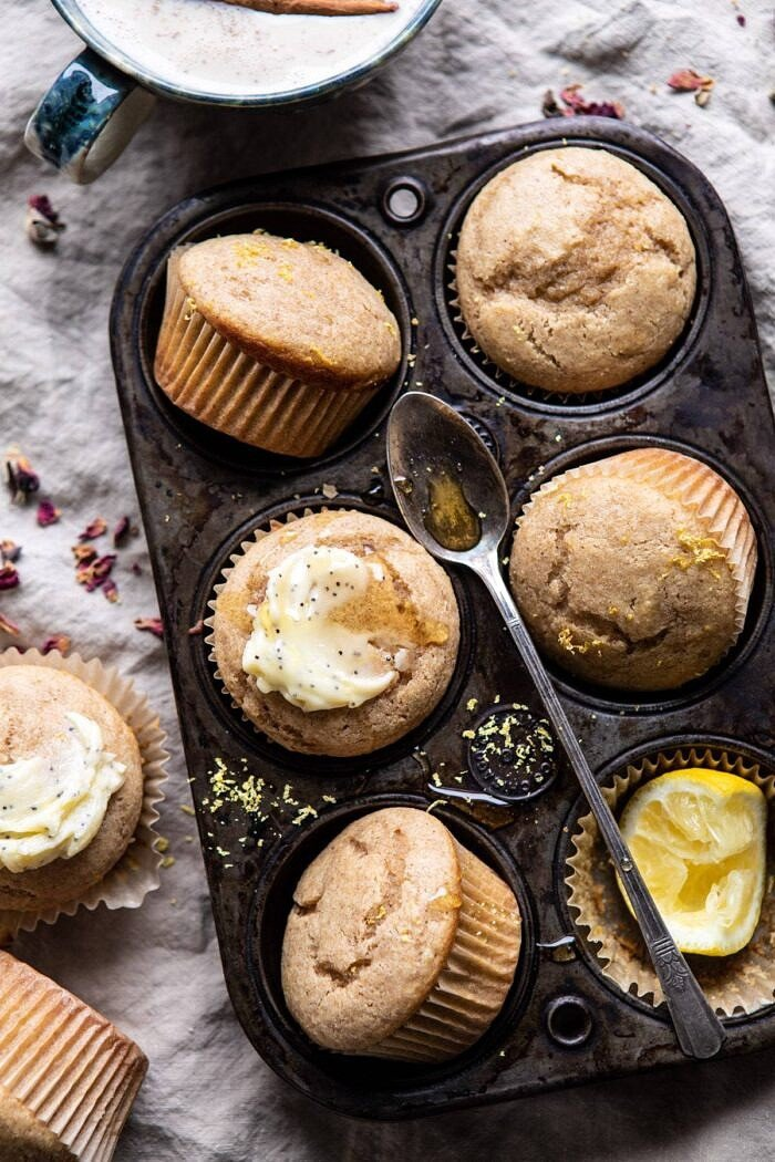 overhead photo of Vanilla Chai Lemon Ricotta Muffins