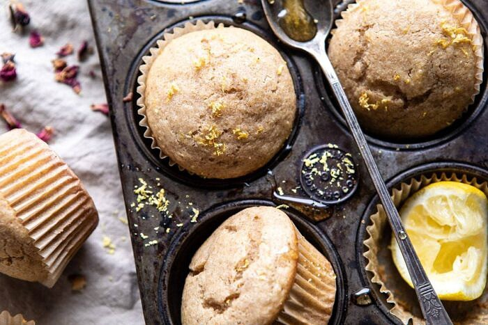 horizontal photo of Vanilla Chai Lemon Ricotta Muffins