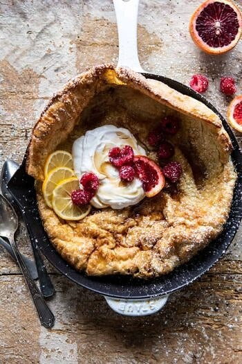 Whole Wheat Dutch Baby with Meyer Lemon Whipped Ricotta.