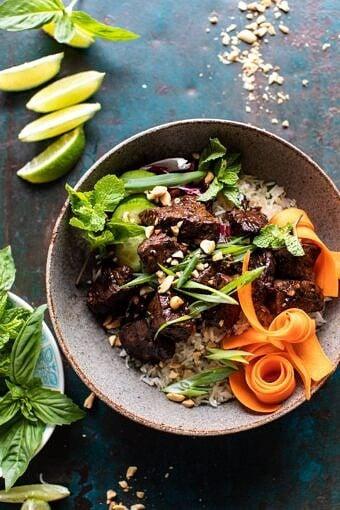 30 Minute Vietnamese Beef and Crispy Rice Bowl | halfbakedharvest.com #beef #thai #easyrecipes #healthy #recipebowl