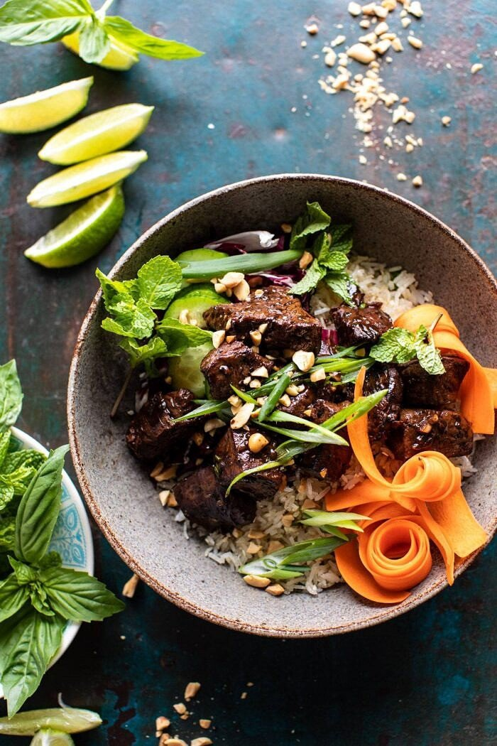 overhead photo of 30 Minute Vietnamese Beef and Crispy Rice Bowl
