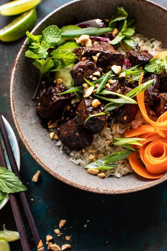 overhead close up photo of 30 Minute Vietnamese Beef and Crispy Rice Bowl
