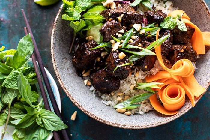 horizontal photo of 30 Minute Vietnamese Beef and Crispy Rice Bowl