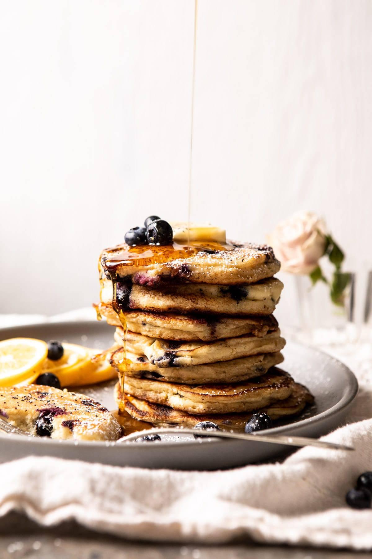 Blueberry Lemon Ricotta Pancakes | halfbakedharvest.com #blueberrypancakes #pancakes #brunch #breakfast #lemon