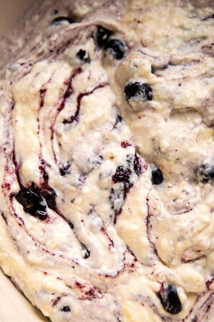 Blueberry Lemon Ricotta Pancake batter in bowl