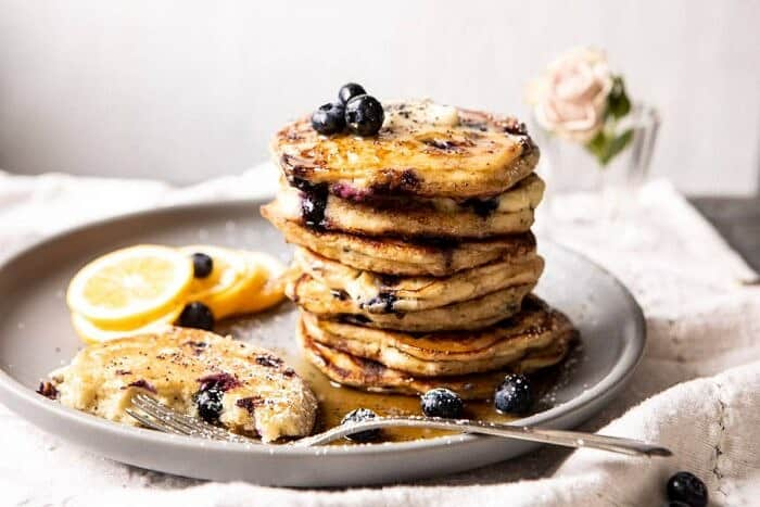 horizontal photo of Blueberry Lemon Ricotta Pancakes