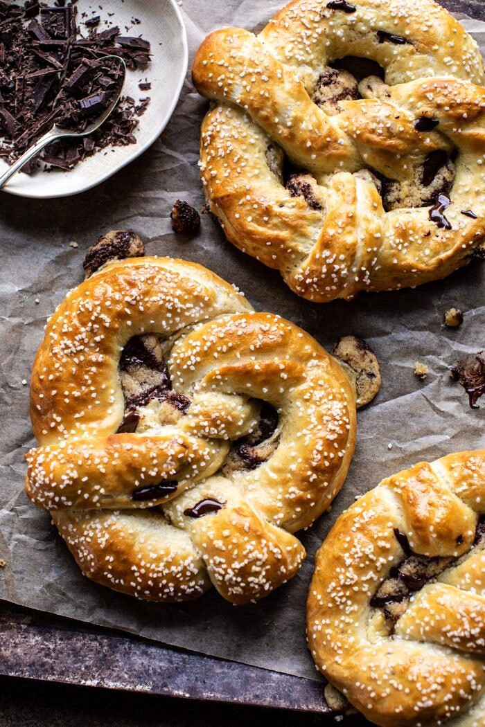 Chocolate Chip Cookie Stuffed Soft Pretzels | halfbakedharvest.com #pretzels #cookies #chocolatechipcookies #dessert #superbowl