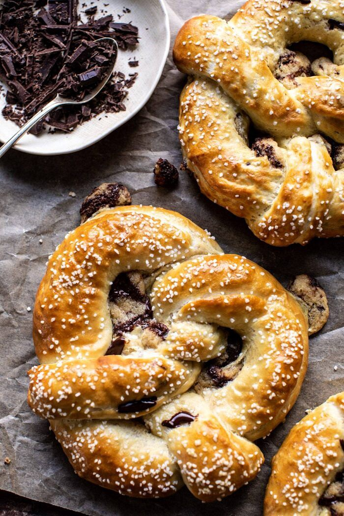 overhead close up photo of Chocolate Chip Cookie Stuffed Soft Pretzels