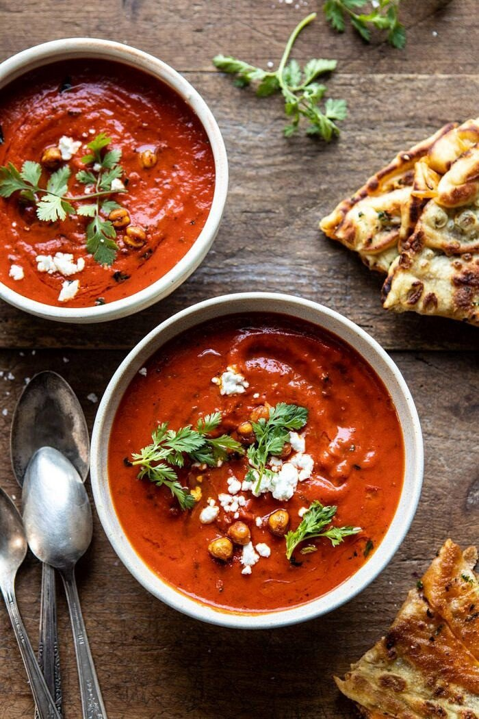 New! Creamy Moroccan Tomato Soup. The cozy weeknight soup that's quick, easy, and healthy too. Recipe: https://www.halfbakedharvest.com/creamy-moroccan-tomato-soup/ #tomatosoup #easyrecipes #healthy #soup #vegan