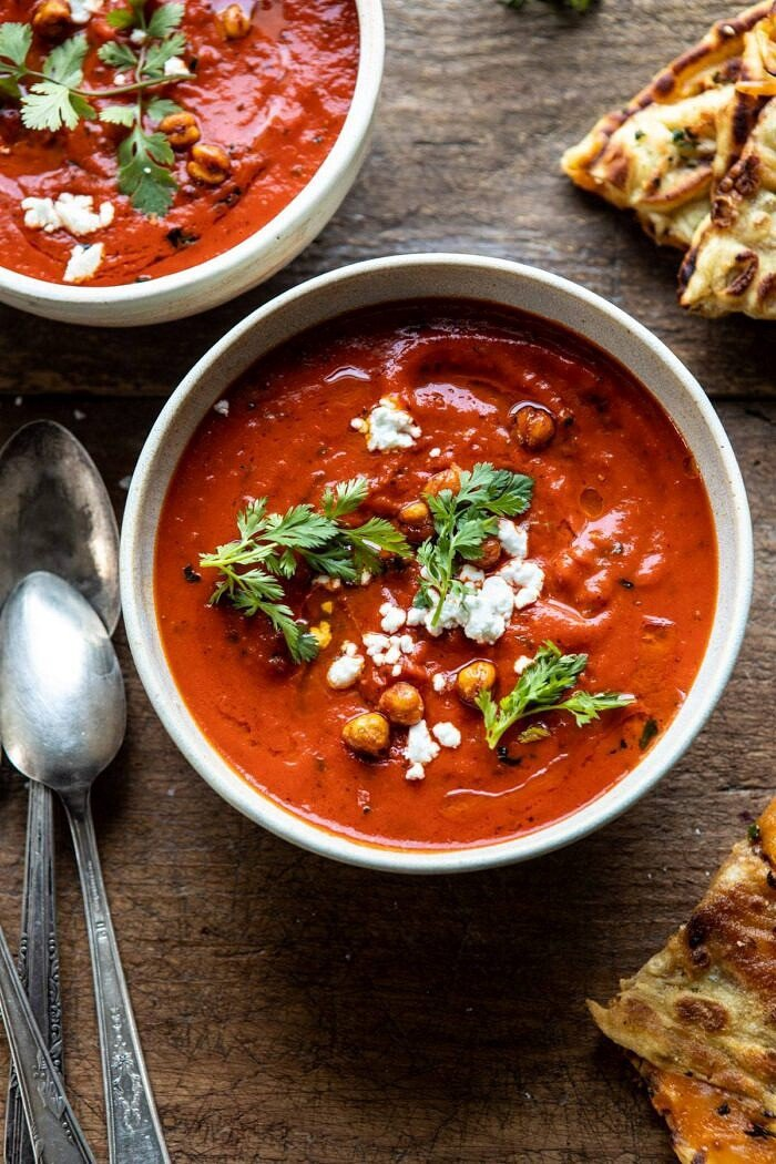 overhead close up photo of Creamy Moroccan Tomato Soup