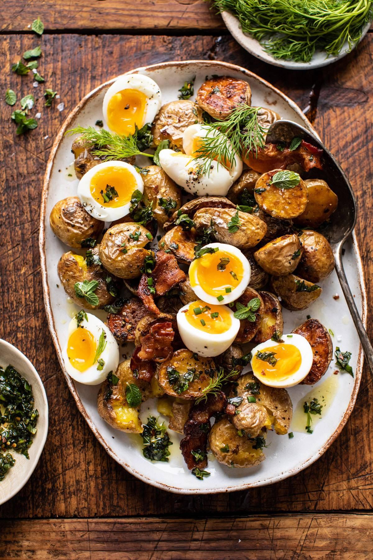 Crispy Breakfast Potatoes with Chili Garlic Oil and Herbs