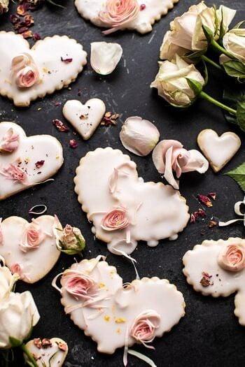 Lemon Rose Shortbread Cookies.