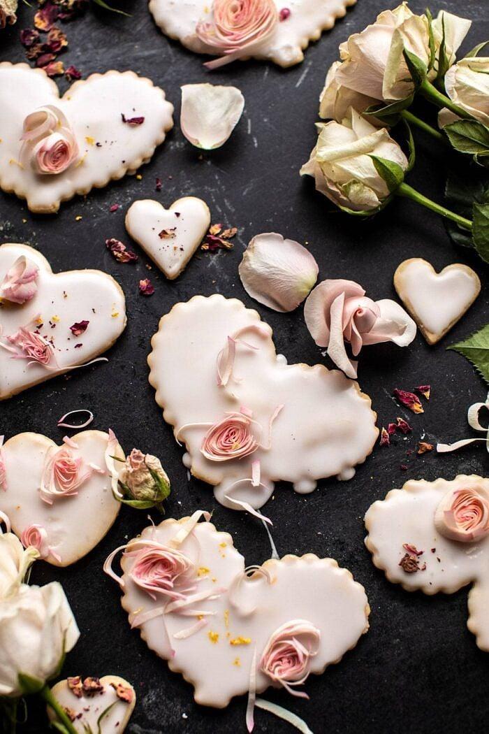 Lemon Rose Shortbread Cookies | halfbakedharvest.com #cookies #valentinesdays #easyrecipes #sugarcookies #dessert