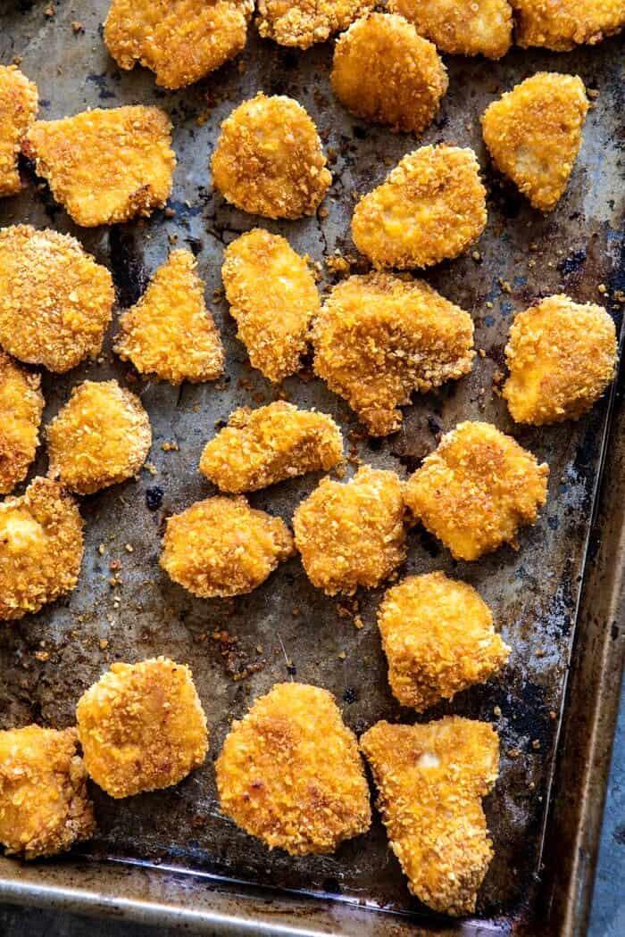 Oven Fried Korean Popcorn Chicken before adding sauce