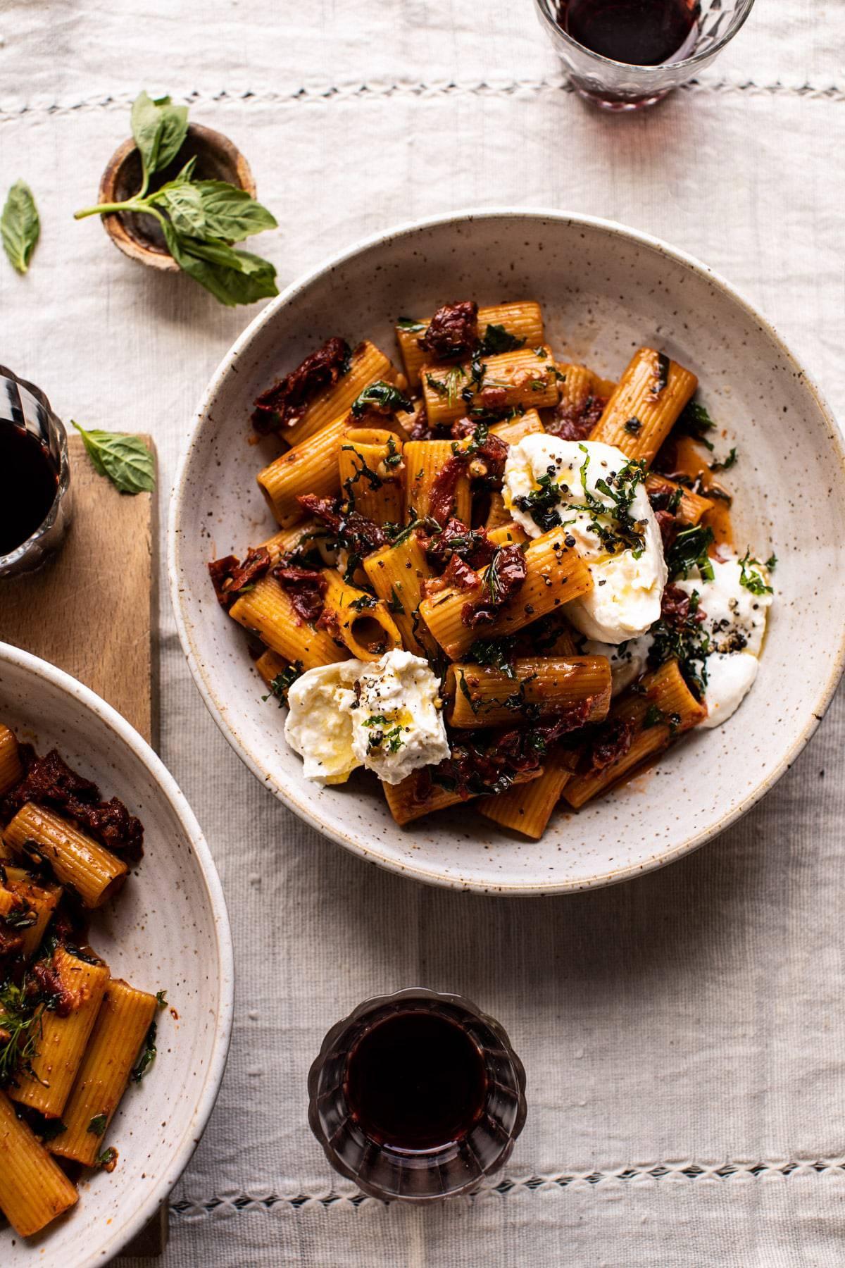 Quick Pantry Pasta withSun-Dried Tomatoes and Burrata | halfbakedharvest.com #pasta #pantrypasta #easyrecipes #Italian #dinner
