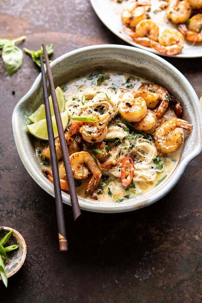 side angled photo of Saucy Garlic Butter Shrimp with Coconut Milk and Rice Noodles