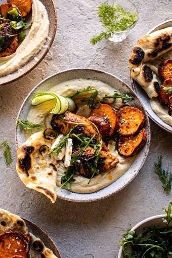 Sheet Pan Chicken Shawarma with Sesame Sweet Potatoes and Hummus | halfbakedharvest.com #easyrecipes #healthyrecipes #sheetpan #chickenrecipes #hummus