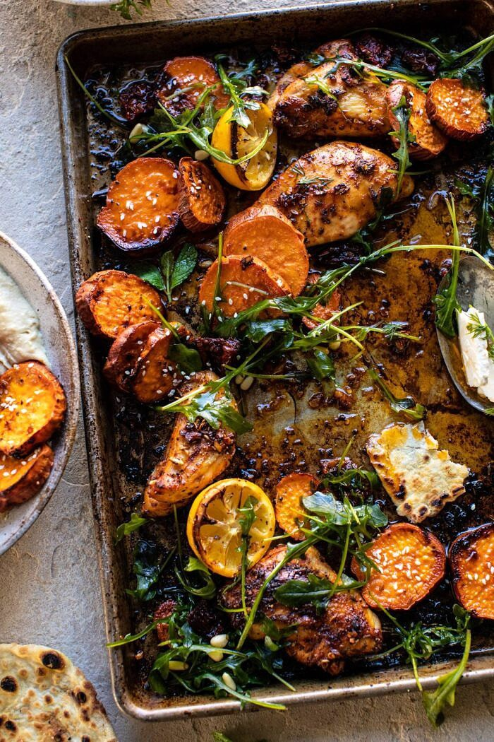 overhead photo of Sheet Pan Chicken Shawarma with Sesame Sweet Potatoes