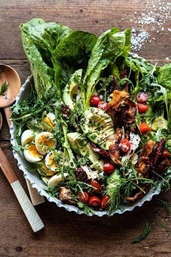 Sun-Dried Tomato Chicken and Avocado Cobb Salad with Tahini Ranch | halfbakedharvest.com #salad #easyrecipes #healthy #chickenrecipes