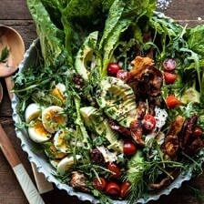 Sun-Dried Tomato Chicken and Avocado Cobb Salad with Tahini Ranch | halfbakedharvest.com #salad #easyrecipes #healthy #chickenrecipes