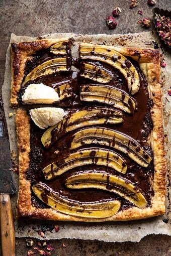 Warm Chocolate Banana Galette | halfbakedharvest.com #banana #chocolate #dessert #easyrecipes #chocolaterecipes #baking