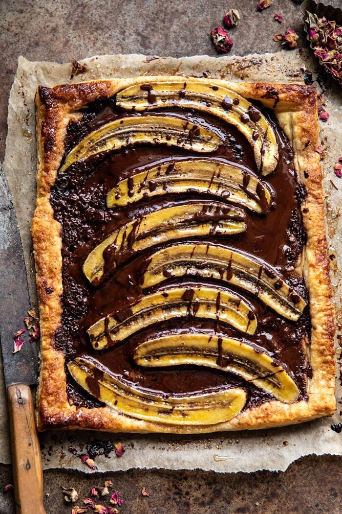 overhead photo of Warm Chocolate Banana Galette without ice cream