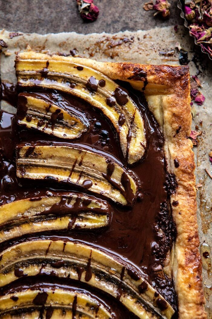 overhead close up photo of Warm Chocolate Banana Galette