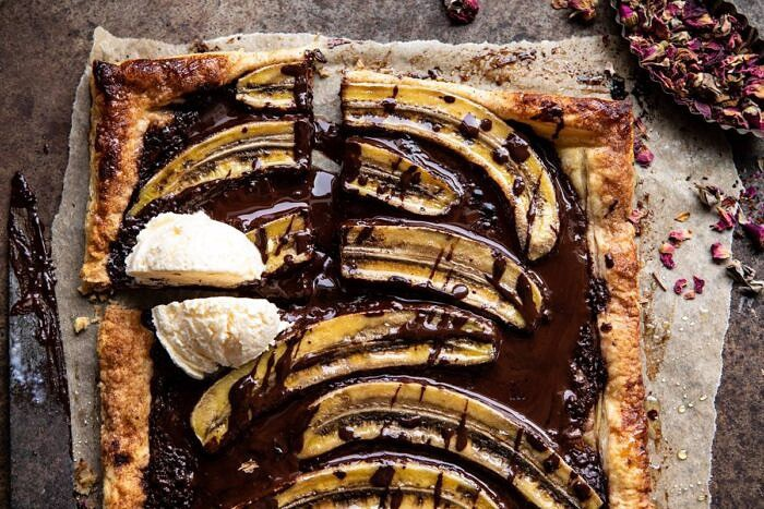 horizontal photo of Warm Chocolate Banana Galette