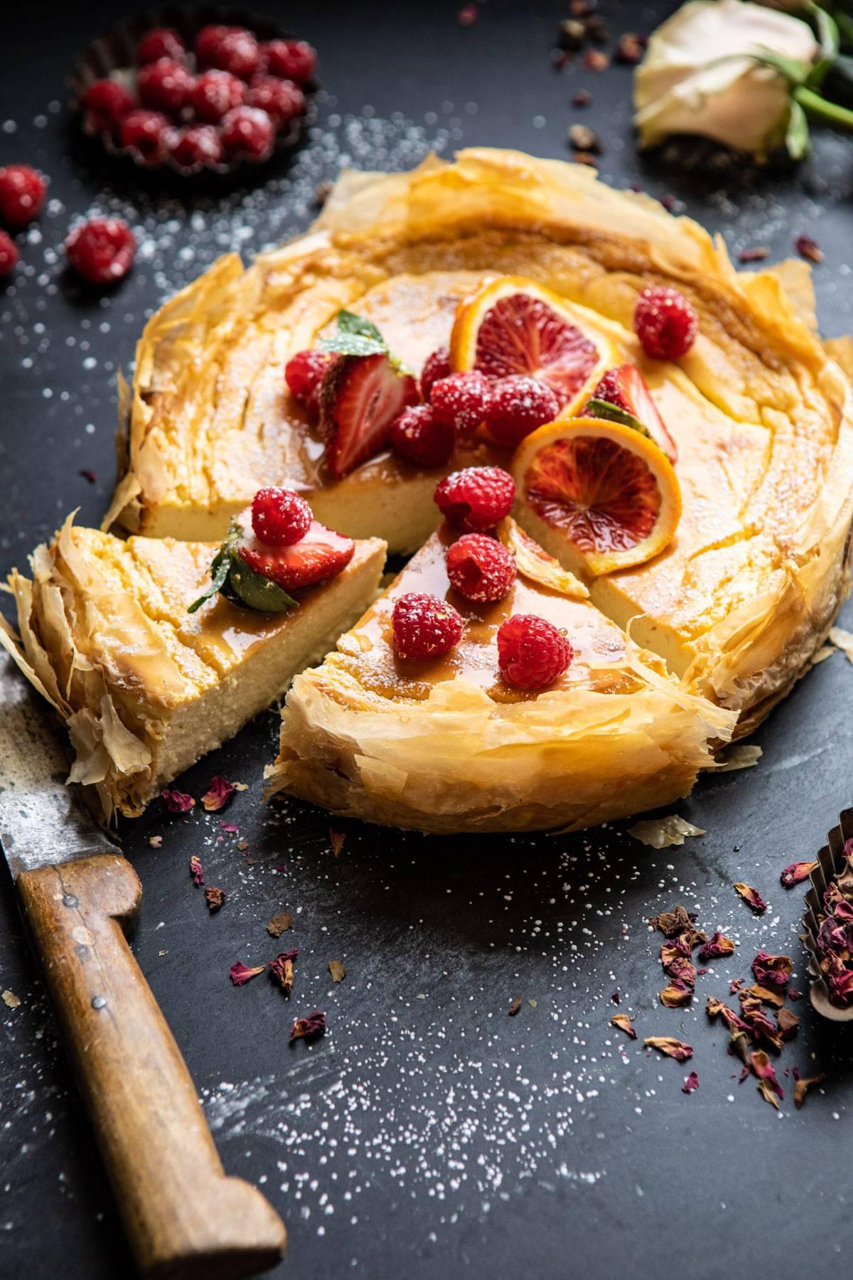 Whipped Lemon Ricotta Cheesecake | halfbakedharvest.com #cheesecake #easyrecipe #ricotta #deesert #cake #valentinesday