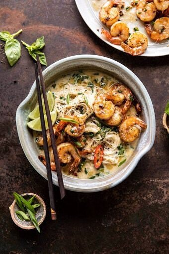 Saucy Garlic Butter Shrimp with Coconut Milk and Rice Noodles | halfbakedharvest.com #shrimp #easyrecipes #healthy #seafood #thairecipes #asian